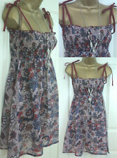TOPSHOP LADIES FLORAL STRAPPY COTTON SUMMER BEACH SHORT SUN CAMI COVER UP DRESS