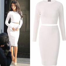 Two Piece Set Cropped Top Skirt Night Out 2 Bodycon Dress Party Michelle Keegan