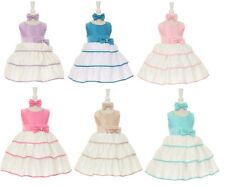 2T-4T Easter Bow Satin Flower Baby Girl Dress and Headband 2-pc, Made of USA