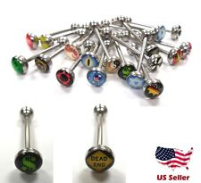Metal Tongue Rings Steel Bars Barbells Funny Nasty Wording Logo Picture Lot
