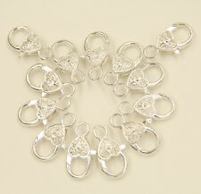 DIY Heart Shape Silver Plated Lobster Clasps Jewelry Making Findings 25x13mm