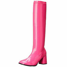 FUNTASMA Boot Knee High Stretch Patent Block Heel Retro GOGO-300UV Neon Hot Pink