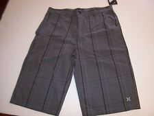 NEW Hurley black gray plaid long walking shorts boys youth sz 20 /  men sz 32