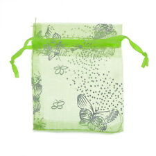 Wholesale Lots 9x12cm Green Butterfly Organza Gift Pouch Bags Wedding Favor