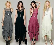 Women Sexy Vintage Party Evening Casual Bodycon Maxi Long Slim Sheer Lace Dress