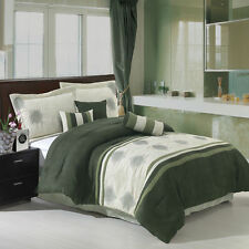 7pc Luxury Grace Sage Green Microsuede Comforter Set  Bed in a Bag with Pillows
