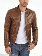 100% Genuine Lambskin Leather Designer Biker Jacket Blazer Men's - Tan Brown