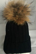 100% Real Fur Pom Pom Beanie Wool Ski Winter Bobble Hat