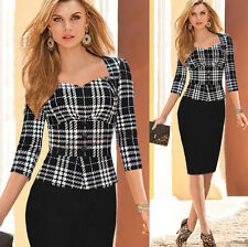 Womens Elegant Peplum Wear To Work Business Casual Party Cocktail Sheath Dress