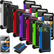 FILM + HYBRID RUBBER PLASTIC RUGGED HARD MATTE CASE COVER FOR HTC ONE M7 M8 M9