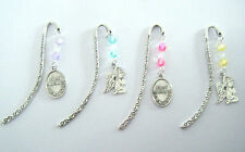 BEADED TIBETAN SILVER BOOKMARK WITH GUARDIAN ANGEL OR FIRST HOLY COMMUNION CHARM