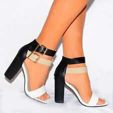 BARLEY THERE TWO TONE STRAPPY HEEL SANDALS BLOCK ANKLE CUFF STRAP HIGH HEELS 3-8