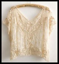 FREE GIFT + Vtg HIPPIE Boho Floral SHEER Crochet LACE Dress TOP Tee Shirt Tunic