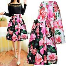 Women HEPBURN High Waist A Line Skirt Ball Gown Print Pleated Midi Swing Dress