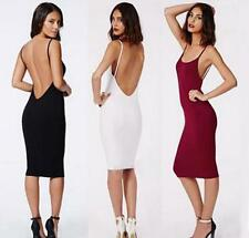 New Womens  Low Back Midi Bodycon Strappy Pencil Party Glam Backless Dress