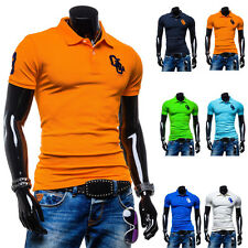 Tees Men V-Neck Fashion Lapel Slim Fit Casual New Short Sleeve T-Shirts Tops
