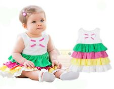 12-36 Months Baby Girl Sleeveless Candy Color Cotton Mini Cake Dress