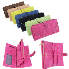 Women Ladies Faux Suede Zipper Clutch Wallet Snap Laced Long Purse Card Holder