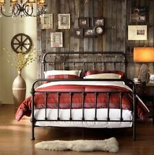Iron Bed Frame Twin Full Queen Size Antique Bronze College Bedroom Furniture