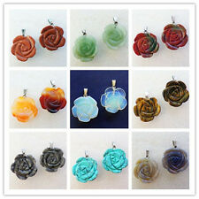 1Pcs Beautiful Carved Mixed Stone Flower Pendant Bead LL003