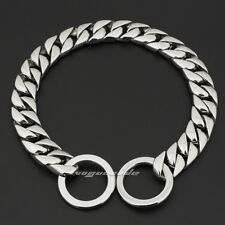 """15mm Width 316L Stainless Steel luxury Dog Chains Collars 5A007DCC 12"""" ~ 30"""""""