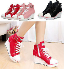 Women Girls High Top Canvas Wedge Heel Lace Up Platform Sneakers Buckle Shoes