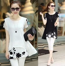 Sweet Women's Loose Chiffon Floral Print Short Sleeve Blouse Casual Dress Tops