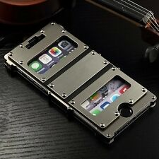 Deluxe Genuine Leather Luxury Metal Aluminum Armor Case For iPhone 6 / 6 Plus