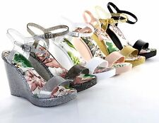 Women Fashion Cute Glitter Jelly High Wedge Heel Sandals Platform Slingback