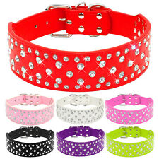 Bling Rhinestone PU Leather Dog Collars for Medium Large Dogs Pitbull S M L XL