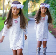 Hot Sell White Kids Baby Girls Princess Party Flower Lace Tutu Dress Skirt 2-11Y