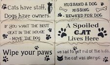 FUNNY WOODEN CAT AND DOG WALL SIGN PLAQUES FOR THE HOME BATHROOM AND KITCHEN