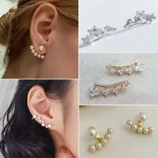 New 1 Pair Chic Lady 18K GP Silver & Gold Plated Crystal Earrings Ear Hook Gifts