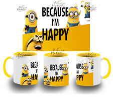 TAZA MINIONS BECAUSE I' M HAPPY MINION GRU 2 COLORES MUG tazza tasse coupe