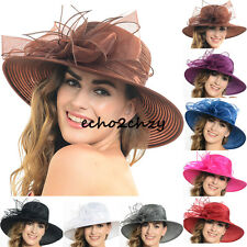 Organza Hat Kentucky Derby Church Wedding Bridal Wide Brim Hat Summer S052-AS