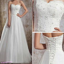 New Tulle Bridal Gown Strapless Wedding Dress US 4-6-8-10-12-14 White/Ivory