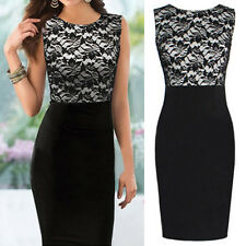 Women Elegant Floral Lace Sleeveless Slim Bodycon Cocktail Party Evening Dress
