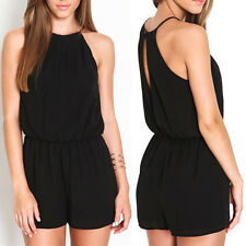 Women Playsuit Rompers Overalls Sexy Casual Sleeveless Halter Keyhole Jumpsuit