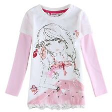 NOVA Girls Long Sleeved Pink White Top Size 18 - 24 M to 6 Years