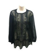 New Ladies Ex Chainstore Black Chiffon Embroidered Womens Top Blouse UK8-UK20
