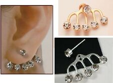 GOLD OR SILVER PLATED UNDERLOBE EAR CUFF WITH STUD EARRING
