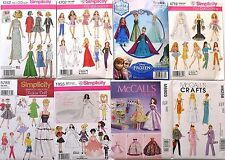 """McCALL'S, SIMPLICITY VTG RETRO~ CLOTHES PATTERN FOR 11 1/2"""" FASHION DOLL BARBIE"""