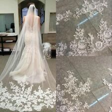 Free Shipping Stock White/Ivory Long Wedding Veil With Comb Bridal Veil Lace