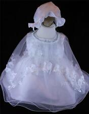 Brand New Baby Girl Lovely White Christening Dress/Bonnet & Dress 0-3/3-6/6-12M