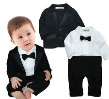 3-24 Months Baby Boys Tuxedo Wedding Romper and Jacket 2-pc Formal Wear Suit