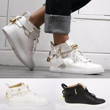 New Womens Birkin Turn Clasp Gold Hardware High Top Sneakers Trainer White Black