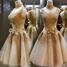 Short Tulle Gold Embroider Lace Wedding Bridesmaid Prom Party Dress Evening Gown