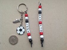 Personalised Name MANCHESTER UNITED football team colours keyring bag tag MUFC