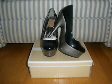 "NEW WOMEN'S SEXY BLACK/GRAY PATENT 5 1/2"" PLATFORM HIGH HEELS SIZES 5.5,6,7,7.5"