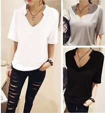 Fashion Sexy V-neck Casual Cotton Shirt Short Sleeve Solid Top Women Blouse